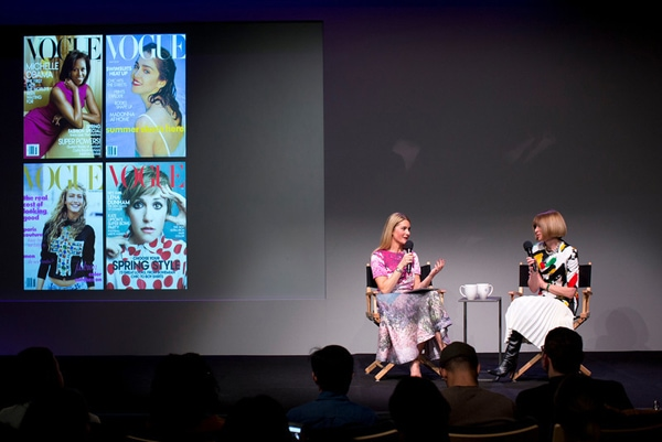 Kinvara Balfour and Vogue's Anna Wintour at Apple Fashion in Conversation