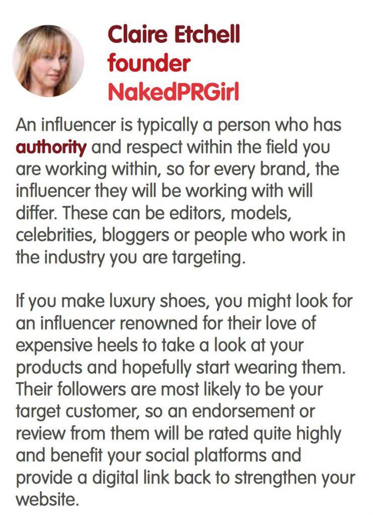 Gorkana Influencer Claire Etchell NakedPRGirl